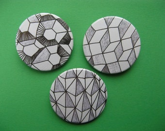 Shapes button or magnet set of 3 38mm