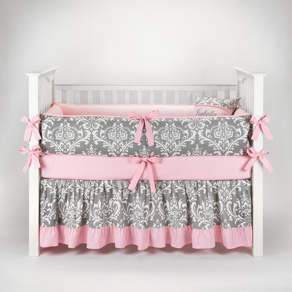 Damask gray amp baby pink crib bedding set by sofia bedding