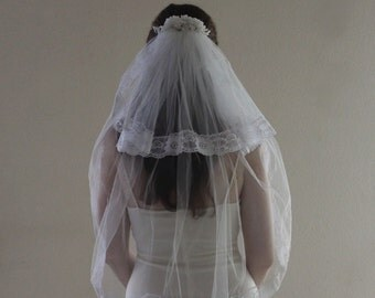 Vintage Wedding Veil, Mid Length, Two Tiered, Blusher, Lace Edges, Pearl Flowers, Embellished Comb Headpiece