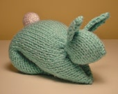 Light Aqua Blue Stuffed Hand-Knit Bunny Toy, Shower or Easter Gift, Soft Baby Toy