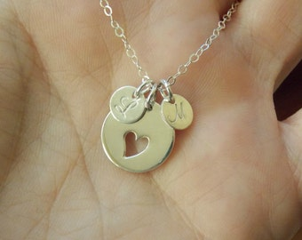 Mother's Day Necklace, Initial 1 2 3 4 5 6 7 8  Charm Sterling Silver, Heart Charm Necklace, Grandmom Necklace, , Mothers Necklace