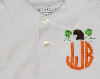 Monogrammed Pumpkin Polo- White or Brown