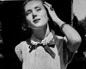 Women's 1940s Crocheted Blouse with Ribbon Peter-Pan Collar -- PDF CROCHET PATTERN
