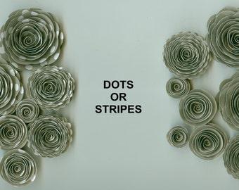 Quartz Grey Handmade Spiral Paper Flowers Dots or Stripes