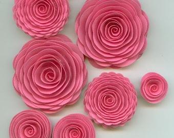 Cupcake Pink Handmade Spiral Rose Paper Flowers