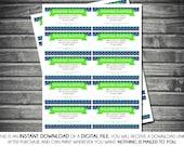 Instant Download Diaper Raffle Tickets - Boy, Navy Blue, Aqua, Green, Brown, Printable, Digital
