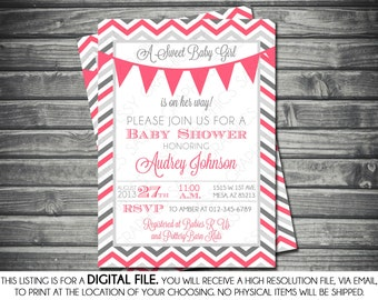 Girls Baby Shower Invitation - Chevron, Banner, Pink, Gray, Printable, Digital