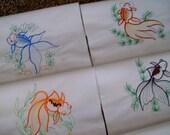 quilt blocks machine embroidered quilt blocks  Set of 9 goldfish blocks  quilt blocks embroidered quilt squares