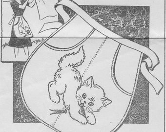 Vintage Embroidery Cat, Kitten Clothes Pin Apron Pattern, Transfer Or Applique