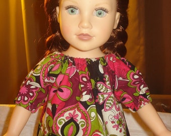 Peasant top in pink, lime and black paisley floral print for 18 inch Dolls - ag179