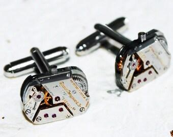 GIRARD PERREGAUX Men Steampunk Cufflinks - Extremely Rare GENUINE Luxury Swiss Silver Vintage Watch Movement Steampunk Cufflinks Cuff Links