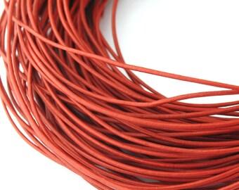 LRD0105012) 0.5mm Turkey Red Genuine Round Leather Cord.  1 meter, 3 meters, 5 meters, 10 meters, 18.3 meters.  Length Available.
