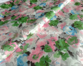 "silk fabric, floral print silk cotton blend fabric, dress fabric, one yard by 44"" wide"