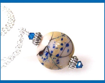 Lampwork Royal Blue Necklace, Lampwork Glass Jewelry, Blue Lampwork Necklace