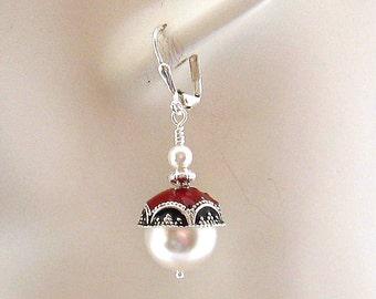 Drop Pearl Earrings, Silver 12 mm White Pearl Drop Earrings, Black Red  Accents, Sweet 16, Large Pearl Earrings
