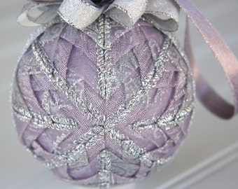 Lavender and Silver Quilted Christmas Ornament Ball - Crystal