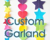 Custom Felt Garland - felt garland made to order, in star, hearts, flowers or circles and 34 colour options - HandmadeCuddlesShop