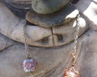 Whimsical Pendulum no. 1 - lampwork and natural gemstones