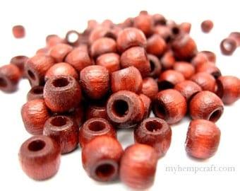 Small Wood Beads, Brown Mahogany Crow 5x6mm - 100pc