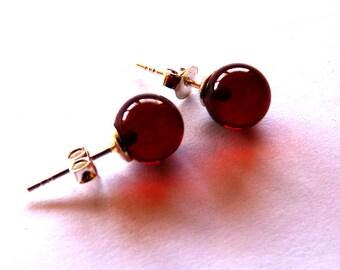 Baltic Amber Stud Earrings Cognac Balls Natural 9 mm 925 silver