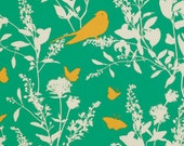 Emerald Green Bird Fabric Swallow Study Bungalow by Joel Dewberry, 1 yard
