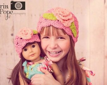 6/12mos, 1T/2T, 2T/4T, or 5/Tween Flower Flapper Cotton Crochet Shell Hat with Matching Doll Hat Peach, Pink, and Lime Custom available