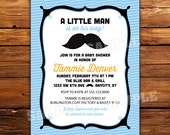 Mustache Baby Shower Invitations, Baby boy, Little Man Invitation in any color, printable invite, digital, DIY