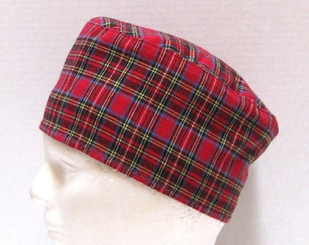 Mens Flannel Scrub Hat, Chemo Cap  or Sleep Cap Red Plaid