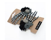 Skeleton Hand Hair Clip - Gothic Lolita Vampire Skeleton Black and White