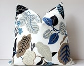 "Modern Blue and Taupe Decorative Designer Pillow Cover 20"" Accent floral navy cobalt wedgewood grey black gray Josef Frank Style spring - WhitlockandCo"