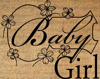 Iron On Transfer Fabric Transfer Burlap Digital Graphic Art Baby Girl Nursery Frame Instant Download Digital Image Download Pillows No. 4753