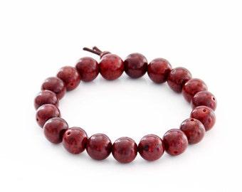 10mm Red Bodhi Pu-Ti Prayer Beads Tibetan Buddhist Rosary Beaded Wrist Mala Bracelet  T2812