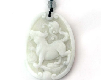 Natural Stone Fortune Zodiac Dog Yuanbao Talisman Amulet Pendant 43mm x 32mm  TH274