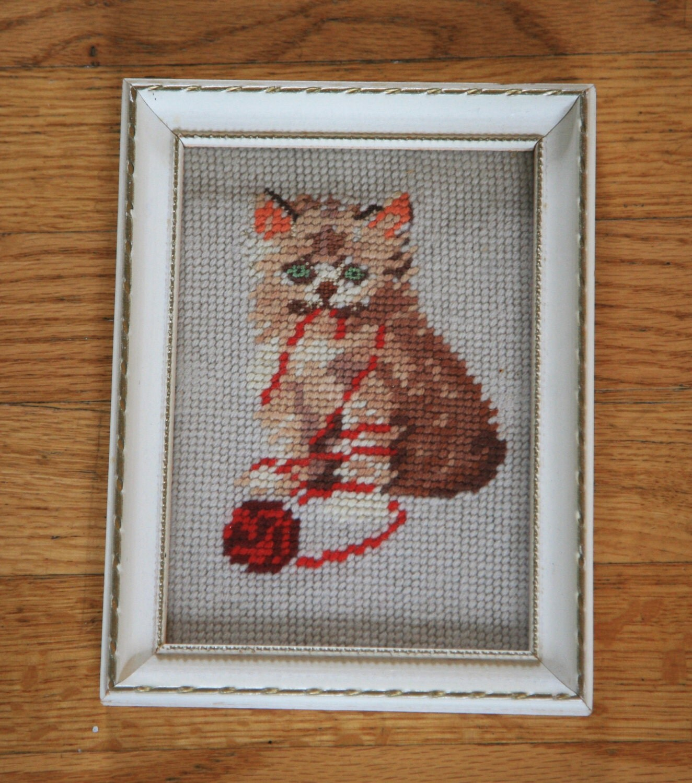 Vintage Framed Embroidery Art Killer Kitty Cat 6x8