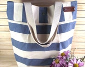 Waterproof Stripe Canvas Tote Bag BLUE white Beach bag Diaper Bag Shoulder bag Casual Tote Bag Eco Friendly Canvasd