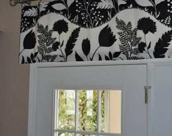 Custom window valance, Good Day Sunshine Black/White by F Schumacher fabric, window treatment VaLance 50x18.5