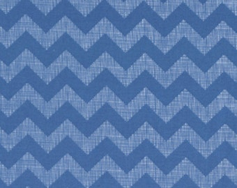 Chevron - Small Textured - Blue - Cotton Quilting Fabric - BTY