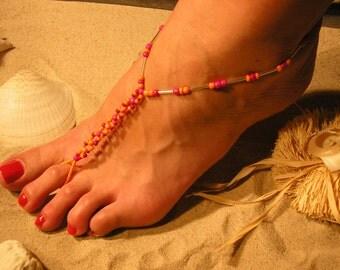 Barefoot Sandals Happi Feet Handmade Pair Chainlink Glass The Katelyn HF6