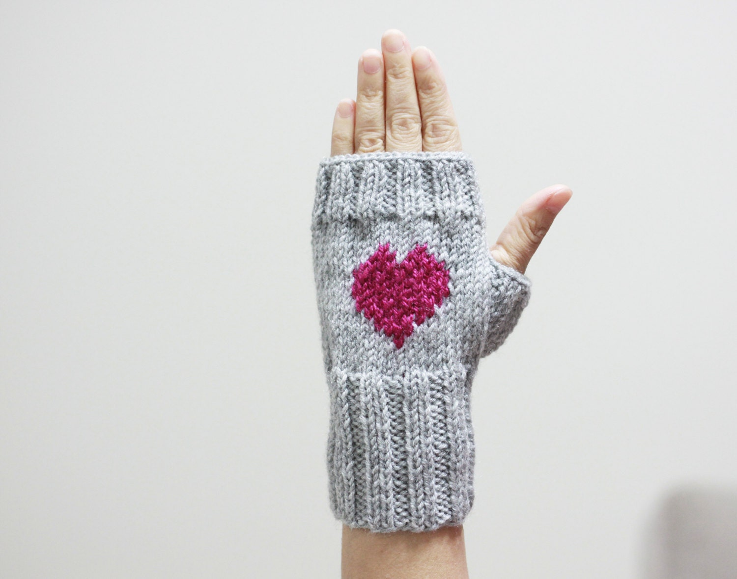 Heart Knit Gloves Heart Mittens Womens Gift Idea For Her-4328