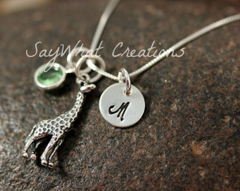 Sterling Silver Hand Stamped Mini Initial Necklace with Giraffe Charm and Birthstone