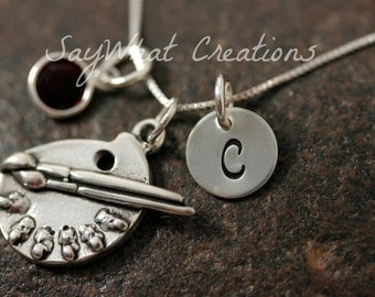 Sterling Silver Artist Paint Palette Charm Necklace with Mini Hand Stamped Initial and Birthstone Perfect for Artists or Art Teacher