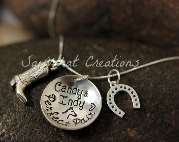 The Perfect Pair Equestrian Horse Lovers Necklace Personalized Hand Stamped Horse Shoe and Riding Boot or Cowboy Boot