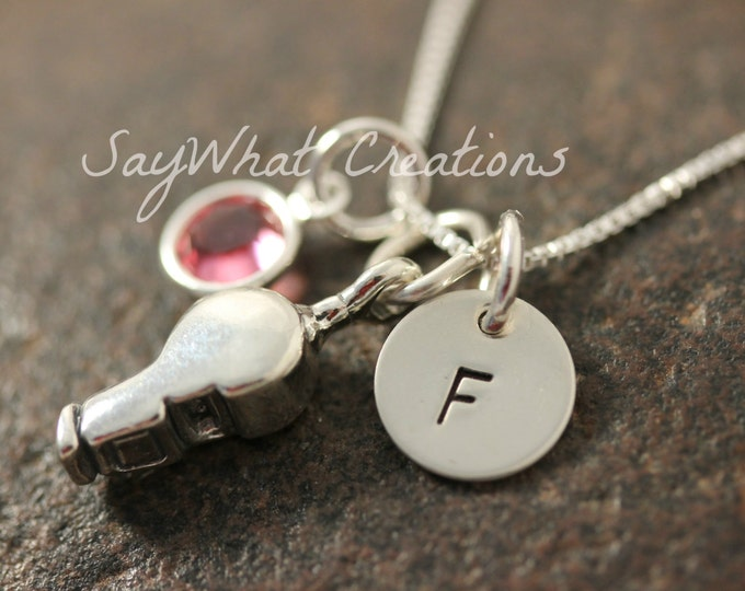 Sterling Silver Whistle Charm Necklace with Mini Hand Stamped Initial and Birthstone Perfect for Coach's Gift