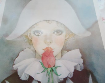 Mira Fujita Harlequin Print. 80s.Postcard Size
