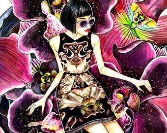 Flower Kaleidoscope - Watercolor Fashion illustration