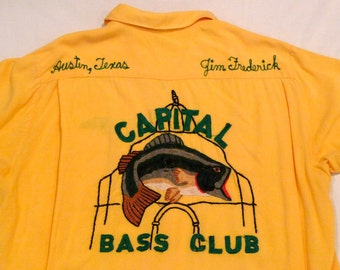 Bowling Shirt Austin Texas Amberley Capital Bass Club Personalized Jim Frederick Vintage Embroidery 1950s 1960s Rockabilly Hipster