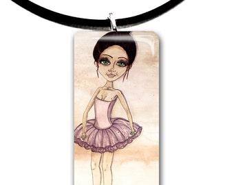 Ballerina pendant, ballet, dancer, hand painted watercolor, art print, big eyes girl pendant, pink tutu, natural tones, tan and pink