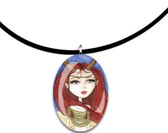 Fantasy Faerie art oval glass tile pendant, handmade, beautiful redheaded fairy