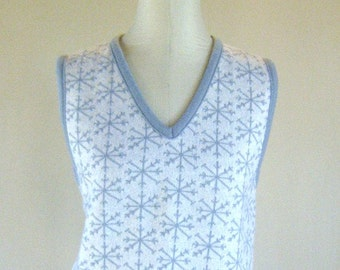 Snowflake Knit Sweater Vest Shirt Top