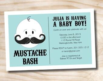 MUSTACHE BASH Boy Baby Shower Invitation - Printable Digital file or Printed Invitations